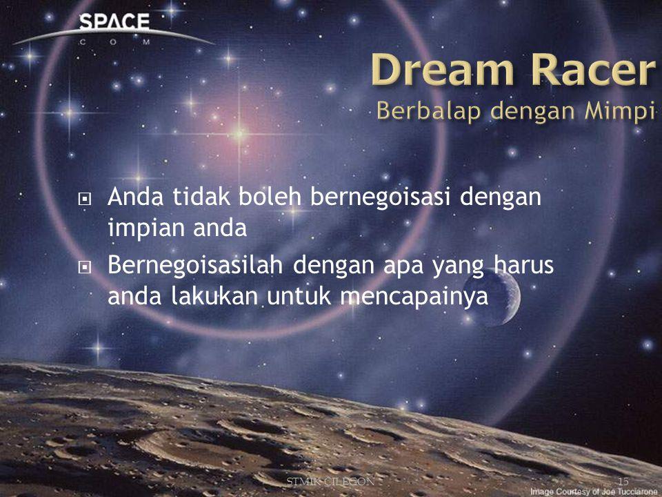 STMIK CILEGON15  Anda tidak boleh bernegoisasi dengan impian anda  Bernegoisasilah dengan apa yang harus anda lakukan untuk mencapainya