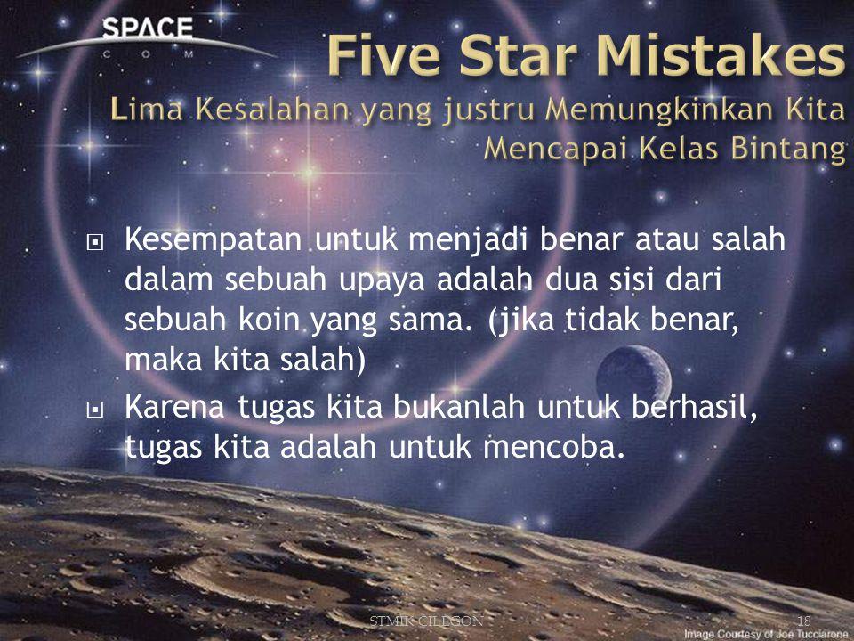 STMIK CILEGON18  Kesempatan untuk menjadi benar atau salah dalam sebuah upaya adalah dua sisi dari sebuah koin yang sama.