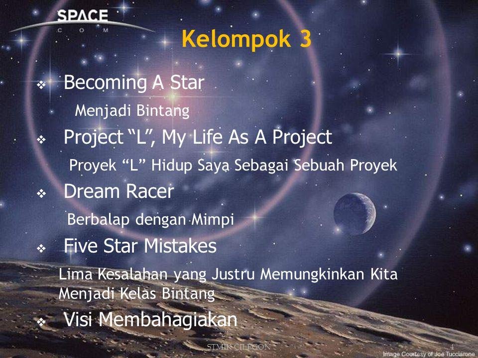  Becoming A Star Menjadi Bintang  Project L , My Life As A Project Proyek L Hidup Saya Sebagai Sebuah Proyek  Dream Racer Berbalap dengan Mimpi  Five Star Mistakes Lima Kesalahan yang Justru Memungkinkan Kita Menjadi Kelas Bintang  Visi Membahagiakan Kelompok 3 4STMIK CILEGON