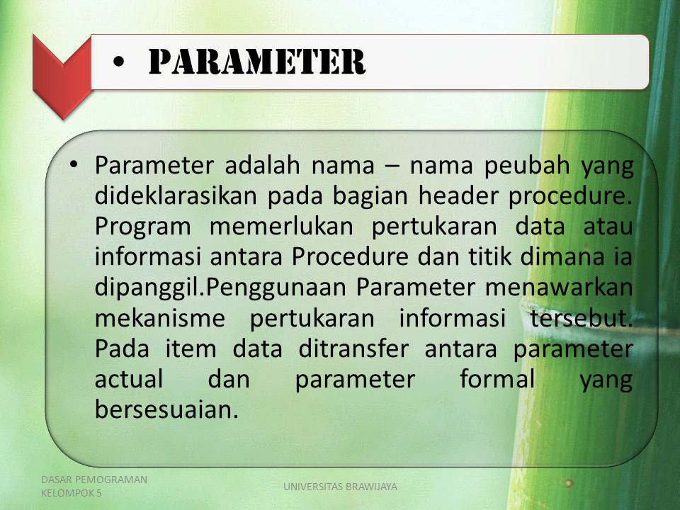 PARAMETER Parameter adalah nama – nama peubah yang dideklarasikan pada bagian header procedure. Program memerlukan pertukaran data atau informasi anta