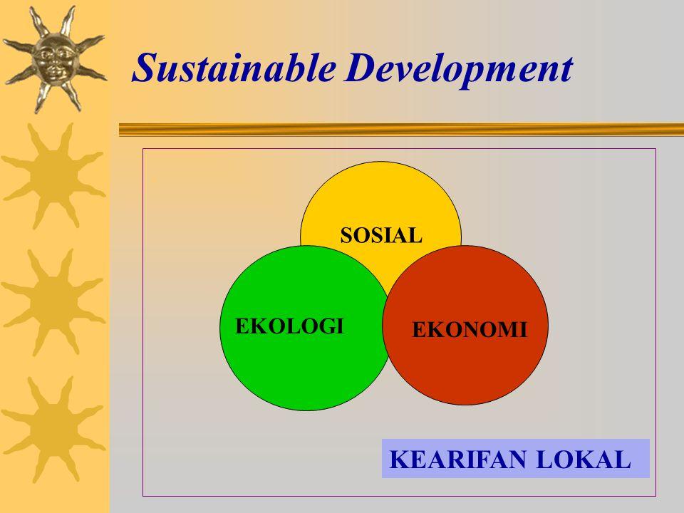 Sustainable Development. SOSIAL EKOLOGI EKONOMI KEARIFAN LOKAL