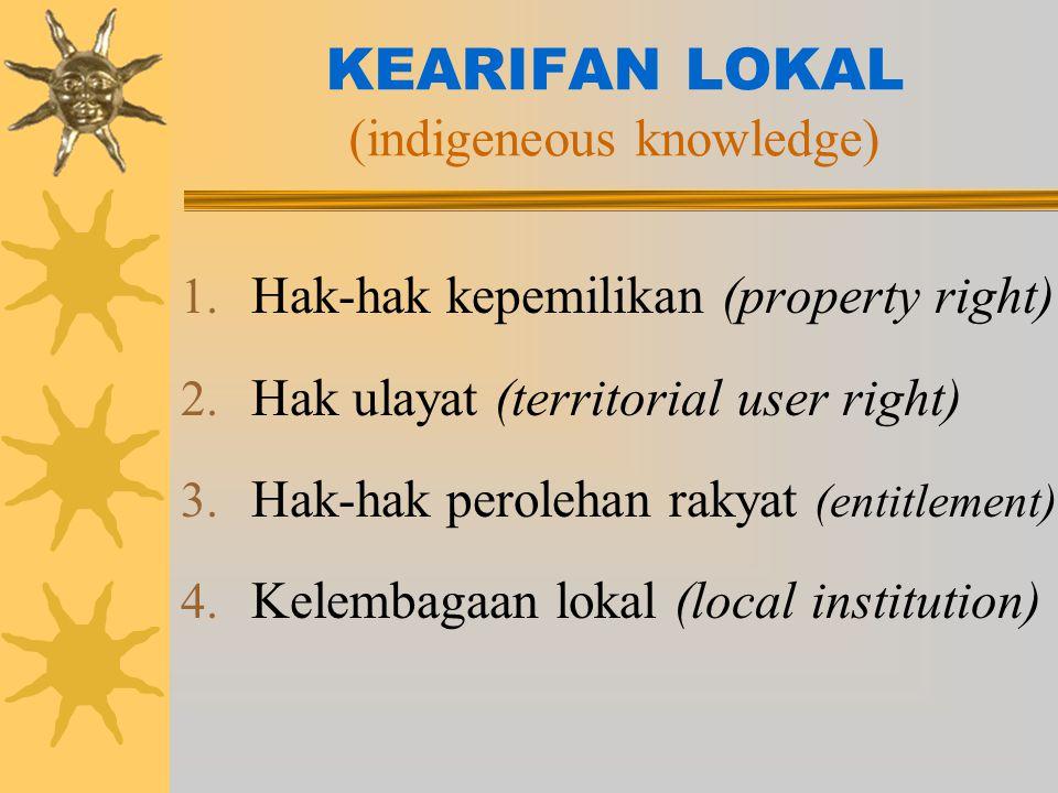 KEARIFAN LOKAL (indigeneous knowledge) 1.Hak-hak kepemilikan (property right) 2.