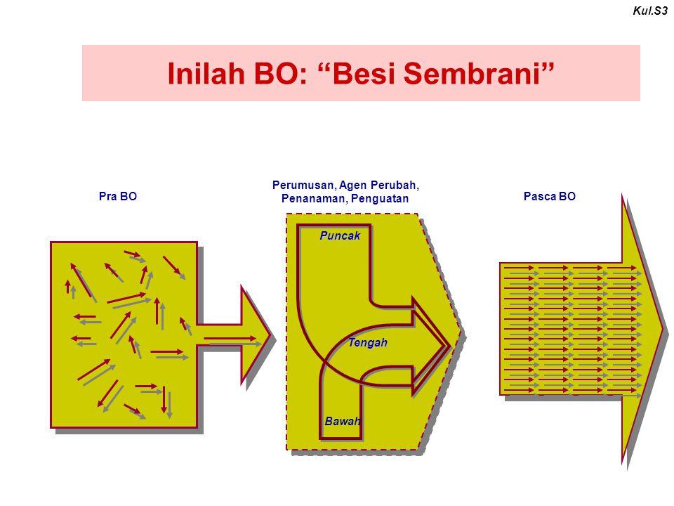 Inilah BO: Besi Sembrani Kul.S3 Pra BO Pasca BO Perumusan, Agen Perubah, Penanaman, Penguatan Puncak Bawah Tengah