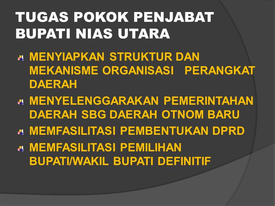 KAB. NIAS UTARA DIBENTUK BERDASARKAN UU NO.45 TAHUN 2008 DIRESMIKAN PADA TGL 26 MEI 2009 SEKALIGUS BERSAMAAN DENGAN PELANTIKAN PENJABAT (PJ) BUPATI NI