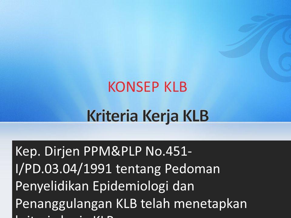 KONSEP KLB Kep. Dirjen PPM&PLP No.451- I/PD.03.04/1991 tentang Pedoman Penyelidikan Epidemiologi dan Penanggulangan KLB telah menetapkan kriteria kerj