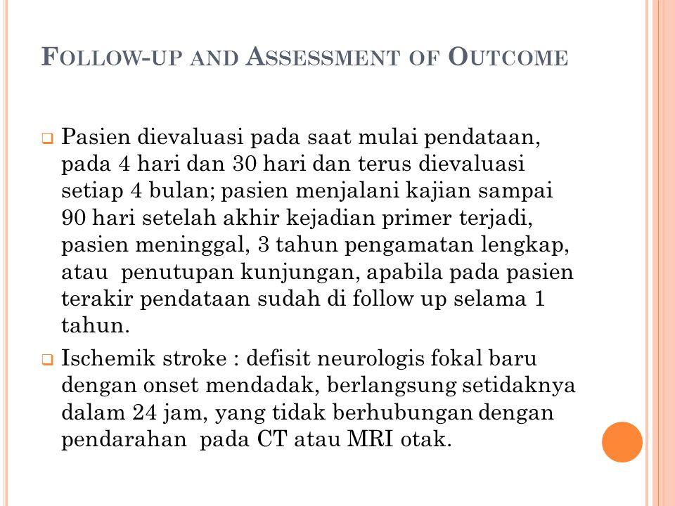 F OLLOW - UP AND A SSESSMENT OF O UTCOME  Pasien dievaluasi pada saat mulai pendataan, pada 4 hari dan 30 hari dan terus dievaluasi setiap 4 bulan; p