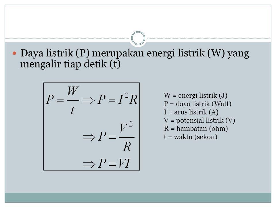 ENERGI dan DAYA LISTRIK Energi listrik (W) yang mengalir melalui penghantar: W = energi listrik (J) I = arus listrik (A) V = potensial listrik (V) R =