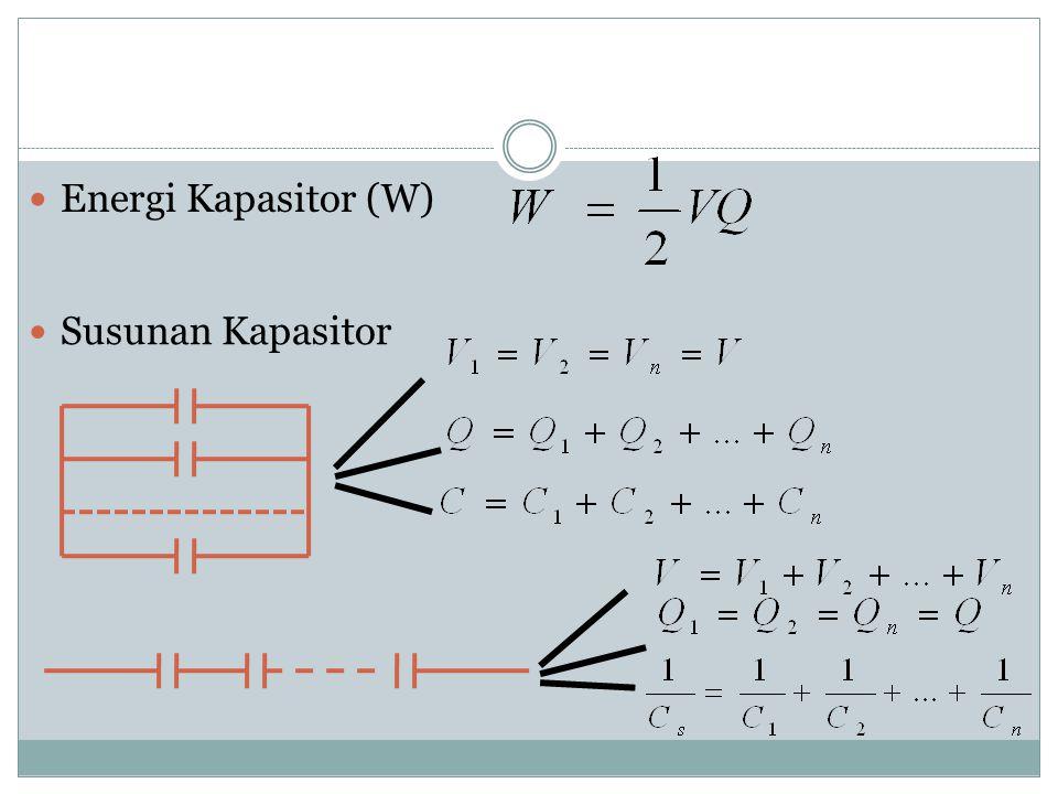 KAPASITOR Kapasitansi Kapasitor (C) Gambar bagian2 kapasitor Ɛ r = konstanta dielektrik bahan Ɛ 0 = permetivitas udara A = luas plat kapasitor d = jar