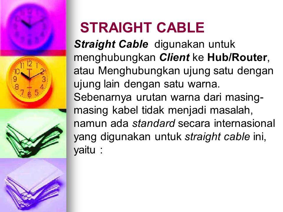 STRAIGHT CABLE Straight Cable digunakan untuk menghubungkan Client ke Hub/Router, atau Menghubungkan ujung satu dengan ujung lain dengan satu warna. S