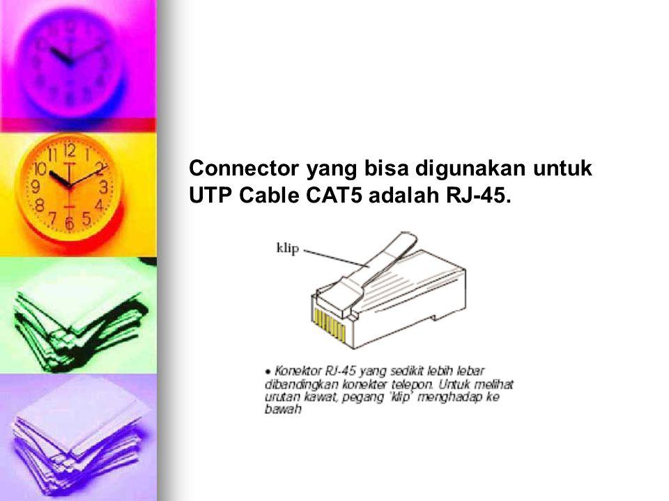 Connector yang bisa digunakan untuk UTP Cable CAT5 adalah RJ-45.