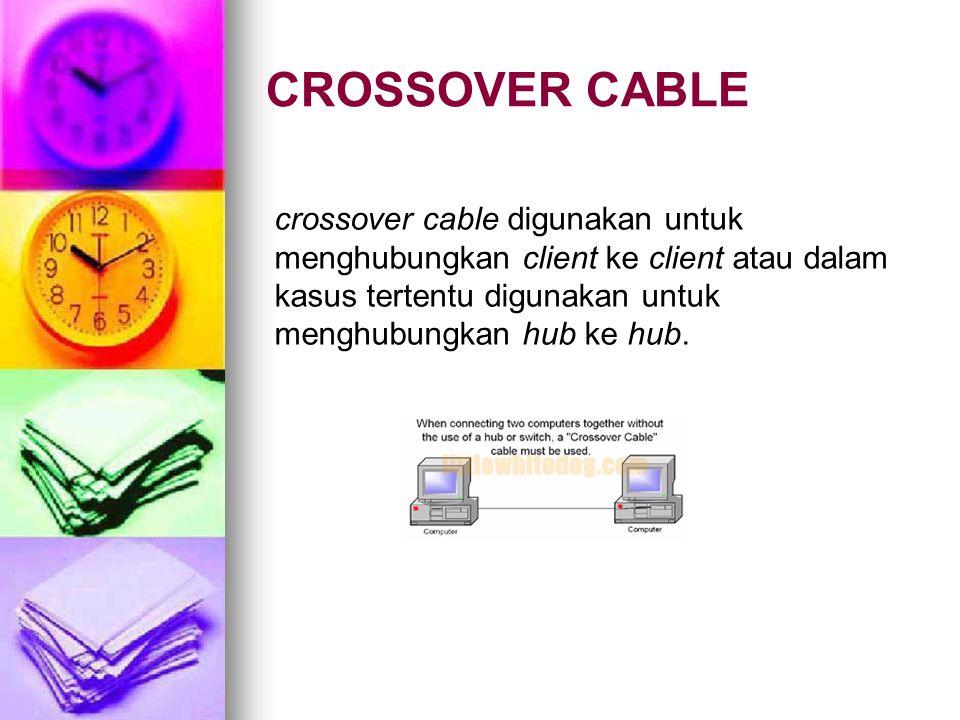 CROSSOVER CABLE crossover cable digunakan untuk menghubungkan client ke client atau dalam kasus tertentu digunakan untuk menghubungkan hub ke hub.