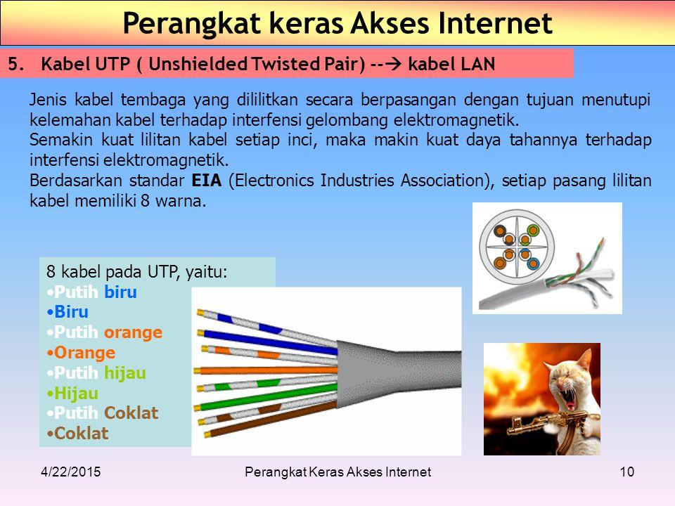 4/22/2015Perangkat Keras Akses Internet10 Perangkat keras Akses Internet 5.Kabel UTP ( Unshielded Twisted Pair) --  kabel LAN 8 kabel pada UTP, yaitu