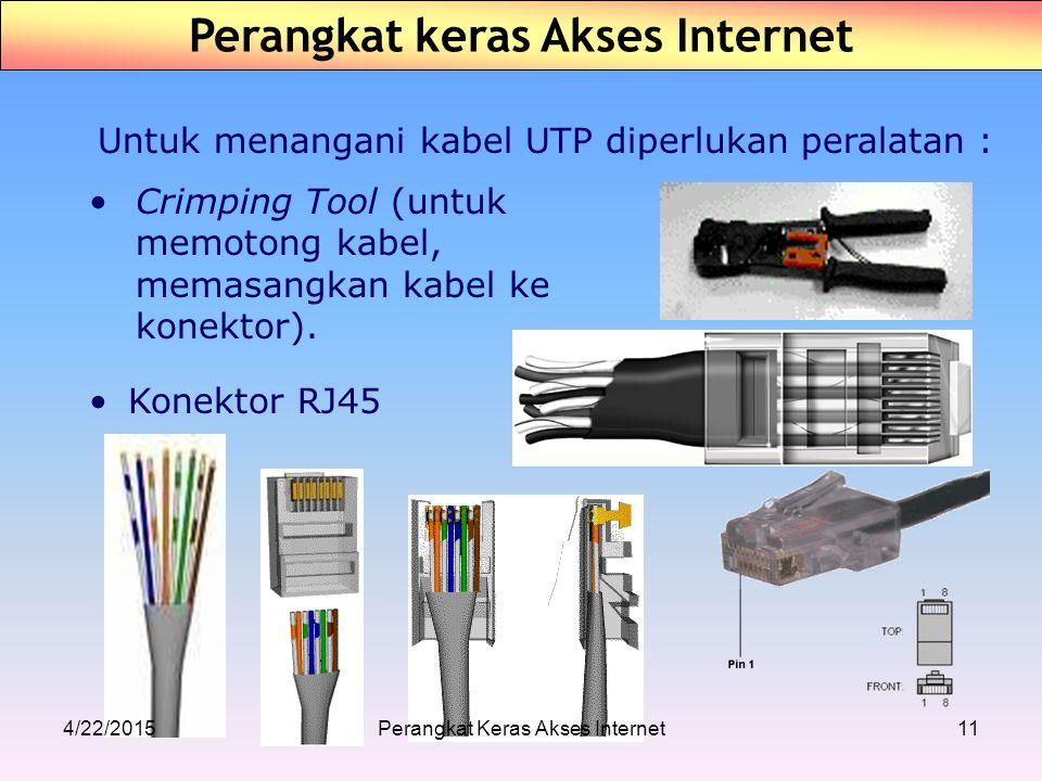 Untuk menangani kabel UTP diperlukan peralatan : Konektor RJ45 Crimping Tool (untuk memotong kabel, memasangkan kabel ke konektor). Perangkat keras Ak