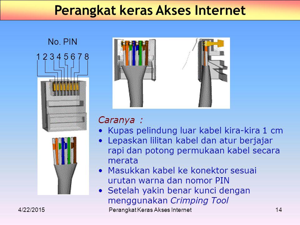 No. PIN 1 2 3 4 5 6 7 8 Caranya : Kupas pelindung luar kabel kira-kira 1 cm Lepaskan lilitan kabel dan atur berjajar rapi dan potong permukaan kabel s