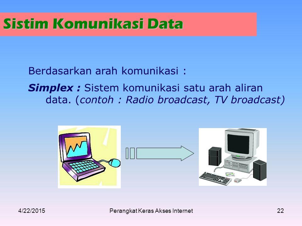 Sistim Komunikasi Data Berdasarkan arah komunikasi : Simplex : Sistem komunikasi satu arah aliran data. (contoh : Radio broadcast, TV broadcast) 4/22/
