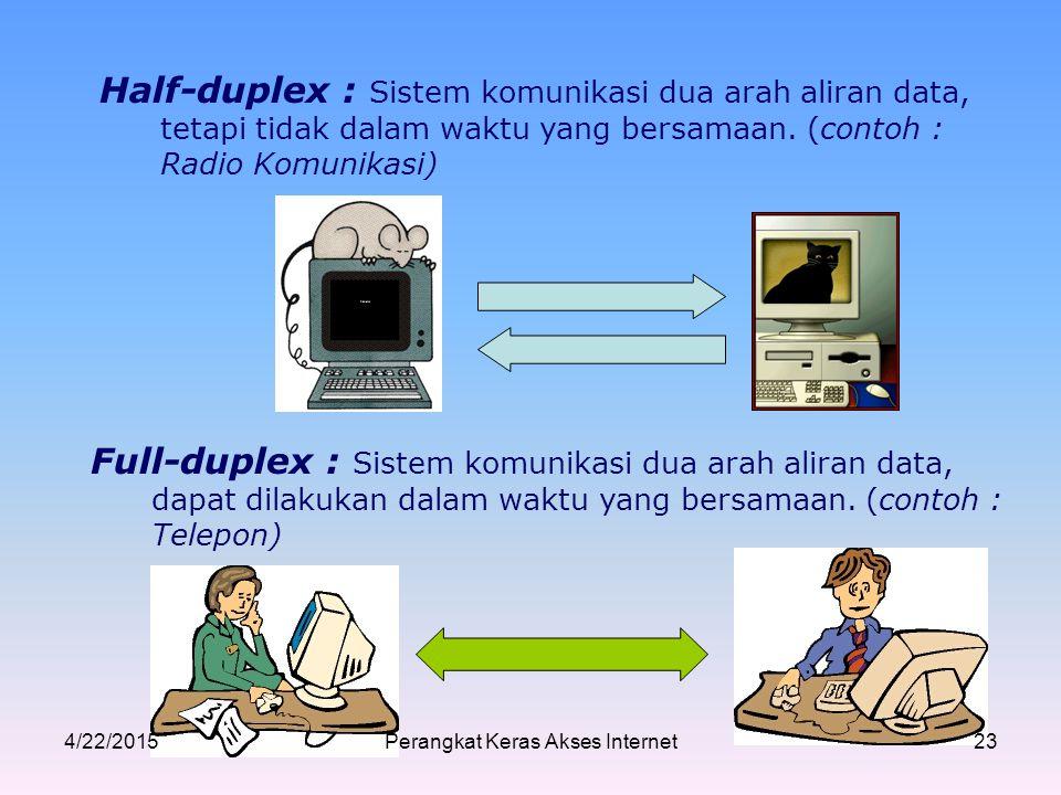 Half-duplex : Sistem komunikasi dua arah aliran data, tetapi tidak dalam waktu yang bersamaan. (contoh : Radio Komunikasi) Full-duplex : Sistem komuni