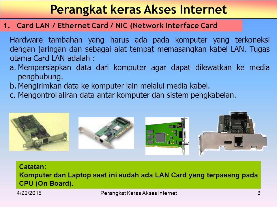 4/22/2015Perangkat Keras Akses Internet3 Perangkat keras Akses Internet 1.Card LAN / Ethernet Card / NIC (Network Interface Card Hardware tambahan yan