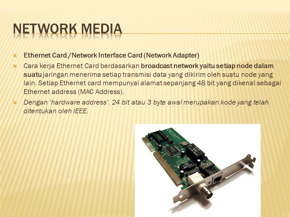  Ethernet Card /Network Interface Card (Network Adapter)  Cara kerja Ethernet Card berdasarkan broadcast network yaitu setiap node dalam suatu jarin