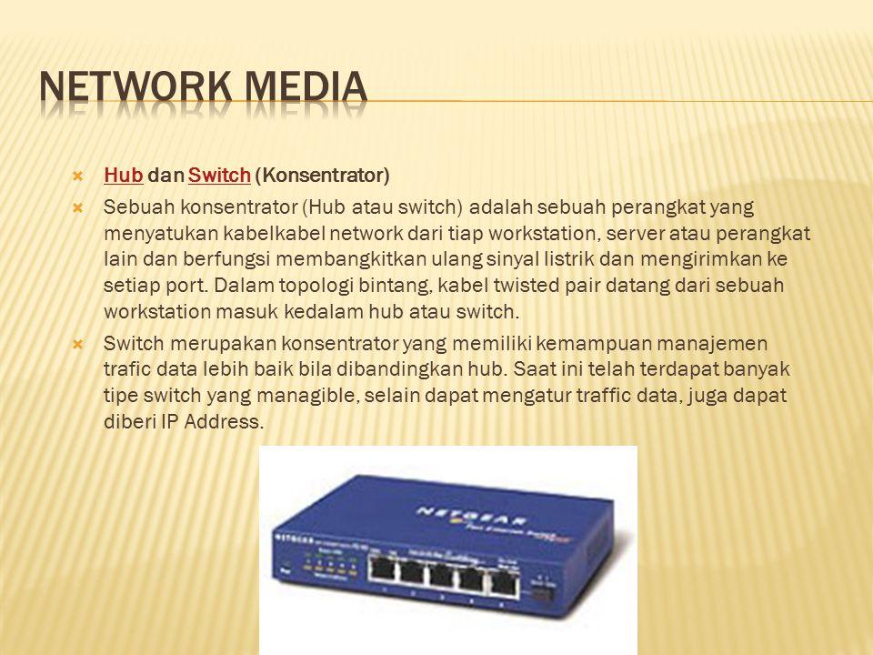  Hub dan Switch (Konsentrator) HubSwitch  Sebuah konsentrator (Hub atau switch) adalah sebuah perangkat yang menyatukan kabelkabel network dari tiap