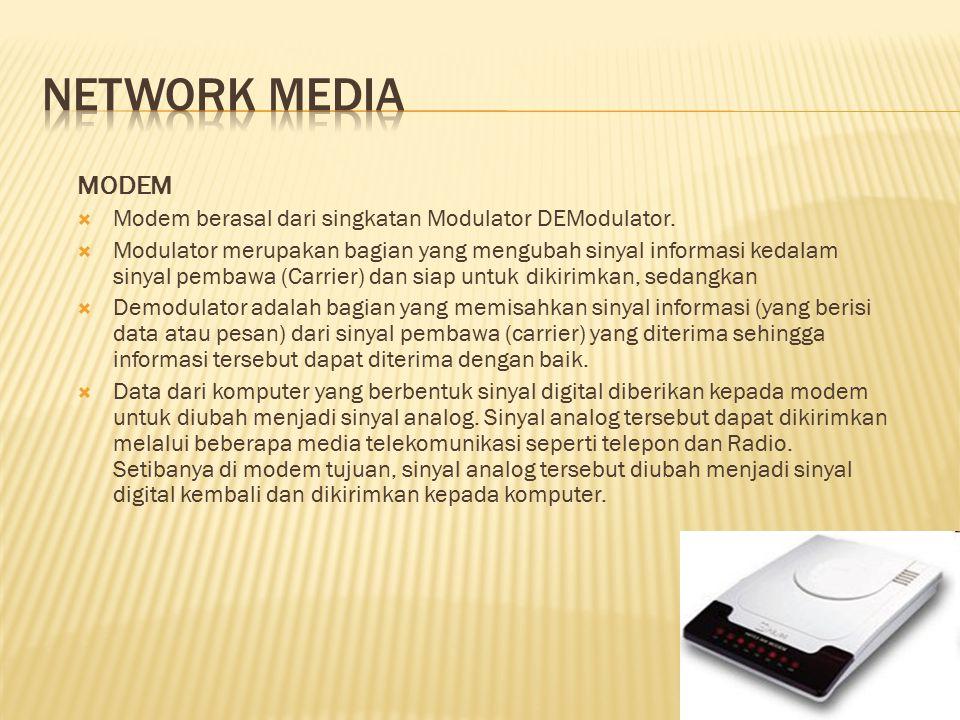 MODEM  Modem berasal dari singkatan Modulator DEModulator.  Modulator merupakan bagian yang mengubah sinyal informasi kedalam sinyal pembawa (Carrie