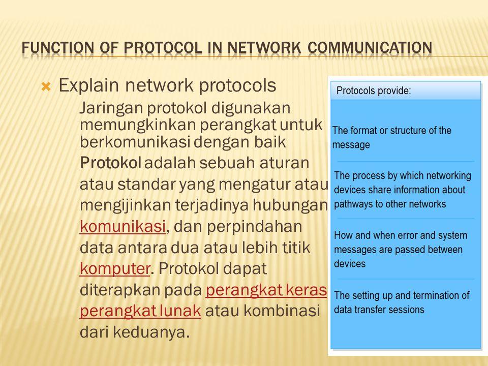  Explain network protocols Jaringan protokol digunakan memungkinkan perangkat untuk berkomunikasi dengan baik Protokol adalah sebuah aturan atau stan