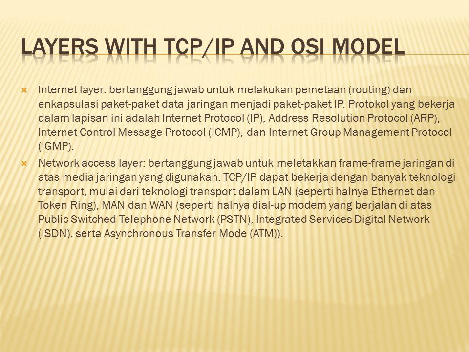  Internet layer: bertanggung jawab untuk melakukan pemetaan (routing) dan enkapsulasi paket-paket data jaringan menjadi paket-paket IP. Protokol yang