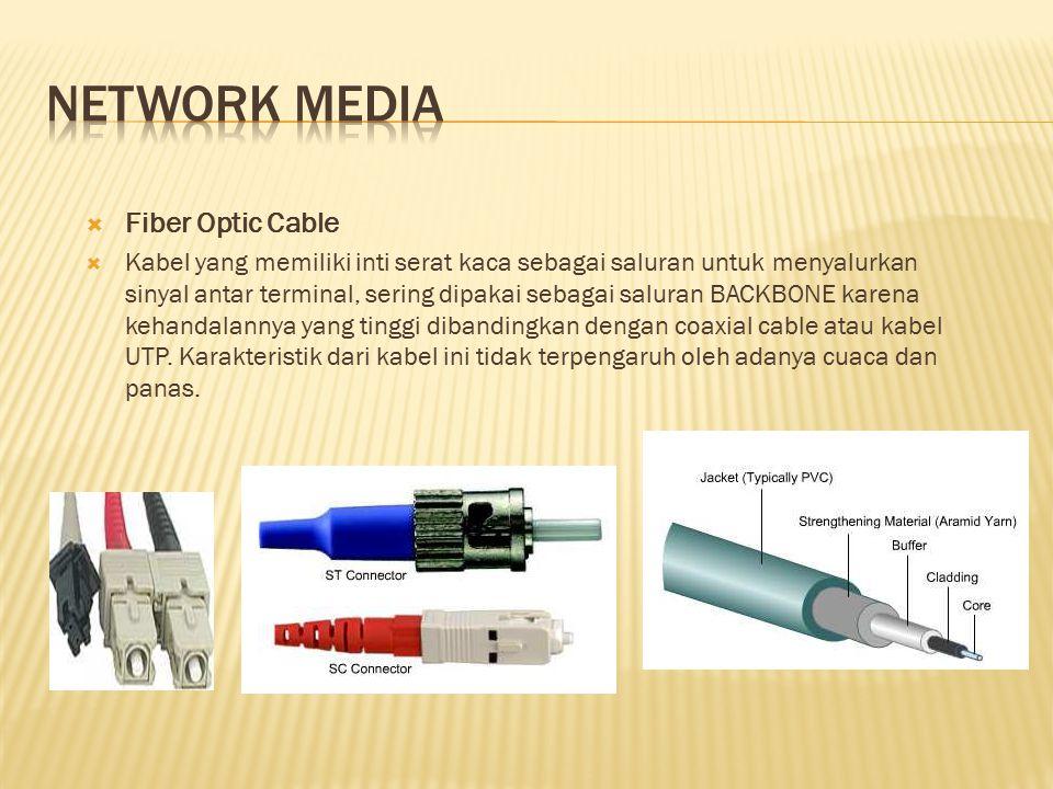  Fiber Optic Cable  Kabel yang memiliki inti serat kaca sebagai saluran untuk menyalurkan sinyal antar terminal, sering dipakai sebagai saluran BACK