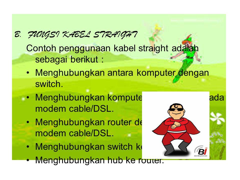 B.FUNGSI KABEL STRAIGHT Contoh penggunaan kabel straight adalah sebagai berikut : Menghubungkan antara komputer dengan switch.