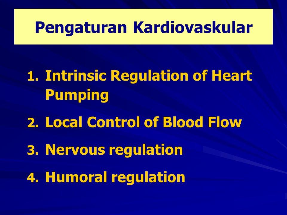 …………...3.Nervous Regulation Control of heart by ANS Parasympathetic: > Berlawanan dengan simpatis > Distribusi di atrium > di ventrikel > Stimulasi kuat  denyut jantung berhenti selama beberapa detik, kemudian diikuti escape  jantung berdenyut dengan irama ventrikel  kemampuan pemompaan ventrikel turun > 50 %