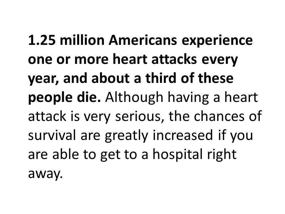 Pengalaman 1,25 juta orang Amerika satu atau lebih serangan jantung setiap tahun, dan sekitar sepertiga dari orang-orang mati.