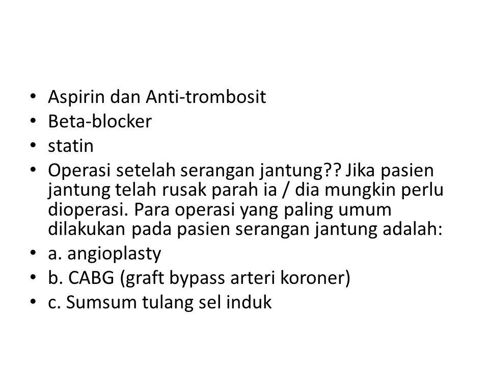 Aspirin dan Anti-trombosit Beta-blocker statin Operasi setelah serangan jantung?? Jika pasien jantung telah rusak parah ia / dia mungkin perlu diopera