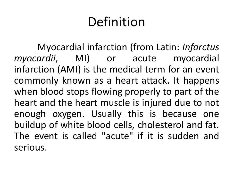 Infark miokard (dari bahasa Latin: myocardii Infarctus, MI) atau infark miokard akut (AMI) adalah istilah medis untuk acara umum dikenal sebagai serangan jantung.
