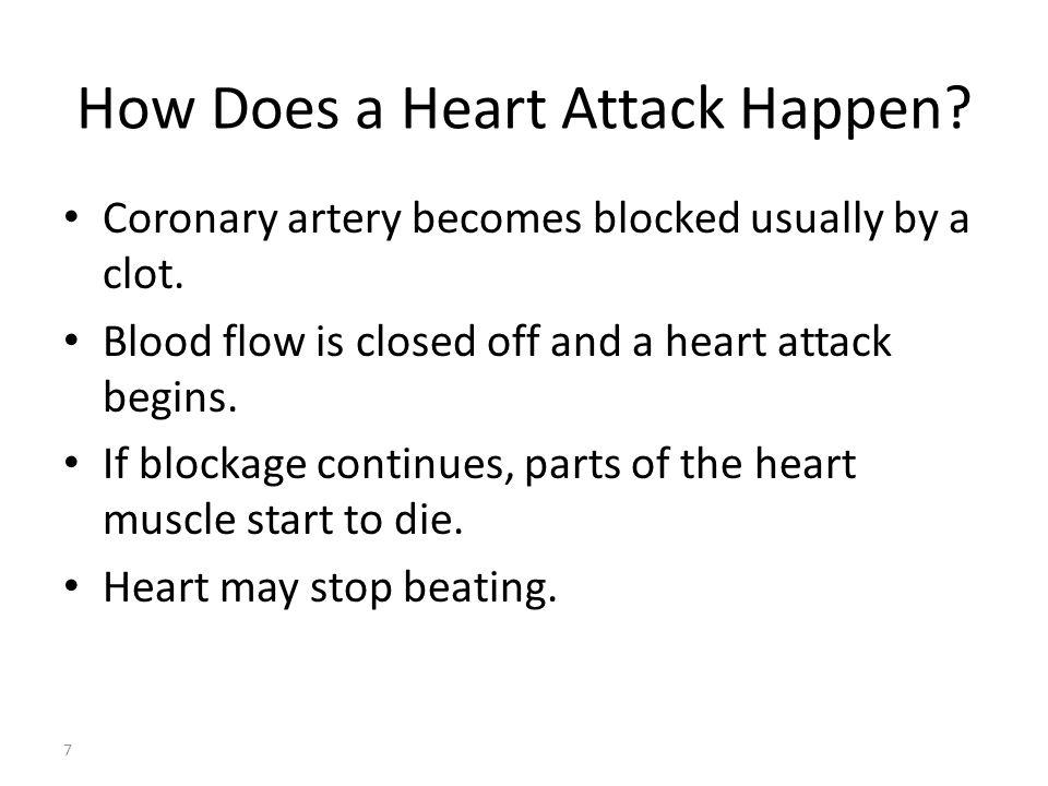Arteri koroner tersumbat biasanya oleh bekuan.Aliran darah tertutup dan serangan jantung dimulai.
