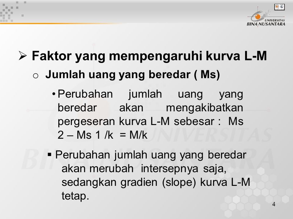 5 o Jumlah uang yang diminta untuk spekulasi otonom (Mo) Perubahan Mo akan mempengaruhi intersep dari kurva L-M (pergeseran kurva L-M) Bila Mo bertambah besar, maka LM bergeser sejajar ke kiri, sedangkan bila Mo menurun maka L-M bergeser sejajar ke kanan.