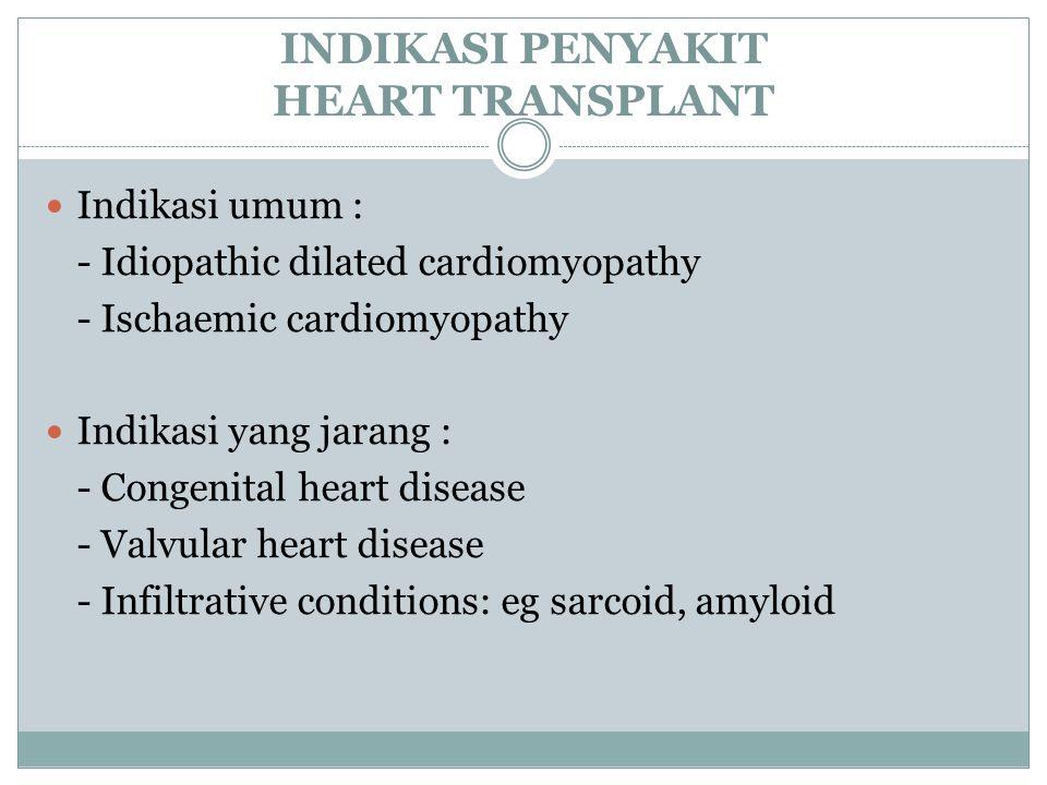 INDIKASI PENYAKIT HEART TRANSPLANT Indikasi umum : - Idiopathic dilated cardiomyopathy - Ischaemic cardiomyopathy Indikasi yang jarang : - Congenital heart disease - Valvular heart disease - Infiltrative conditions: eg sarcoid, amyloid