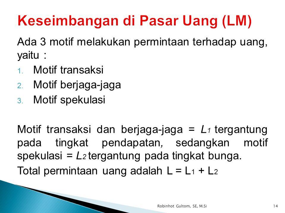 Ada 3 motif melakukan permintaan terhadap uang, yaitu : 1. Motif transaksi 2. Motif berjaga-jaga 3. Motif spekulasi Motif transaksi dan berjaga-jaga =
