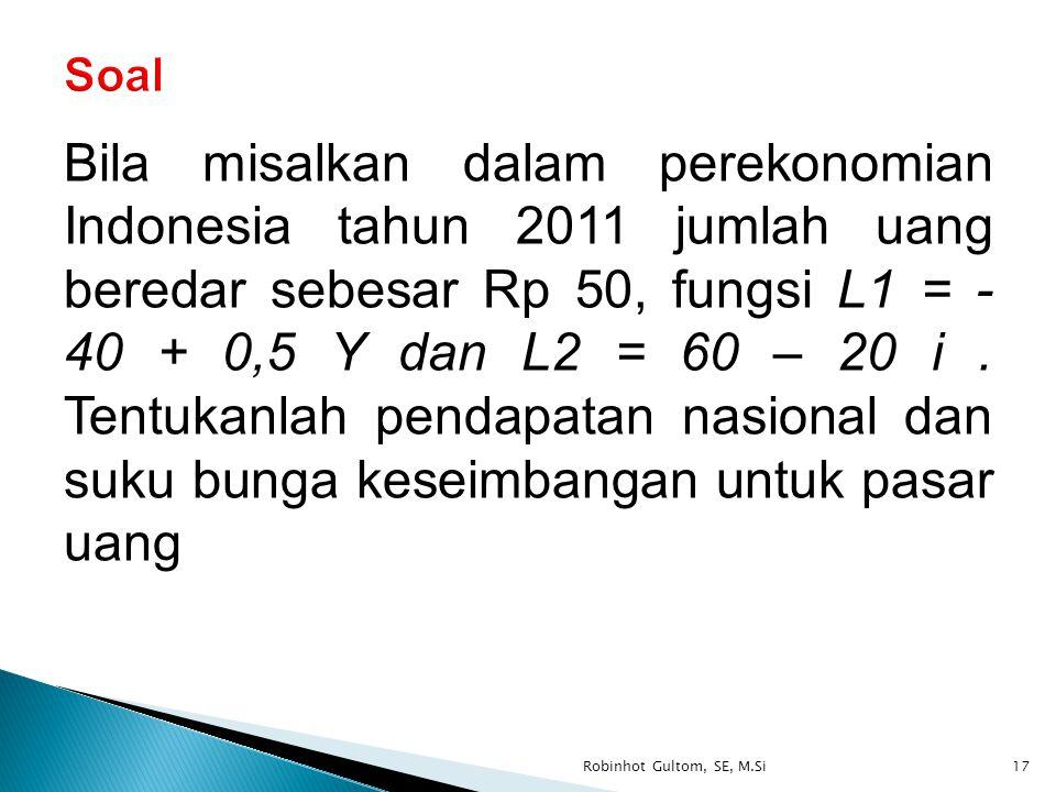Bila misalkan dalam perekonomian Indonesia tahun 2011 jumlah uang beredar sebesar Rp 50, fungsi L1 = - 40 + 0,5 Y dan L2 = 60 – 20 i. Tentukanlah pend