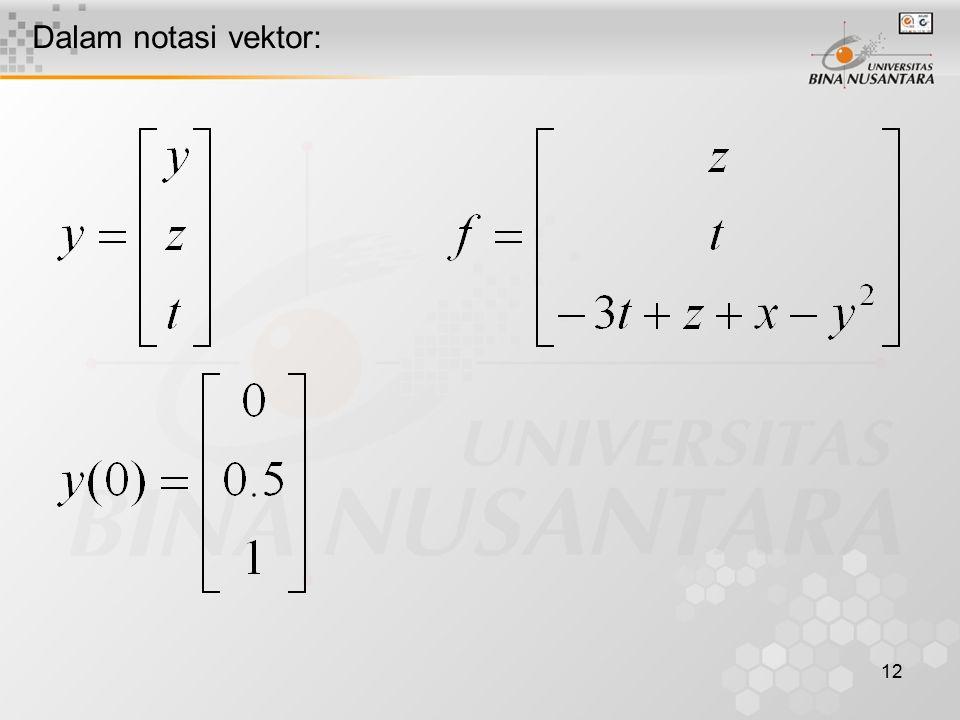 12 Dalam notasi vektor: