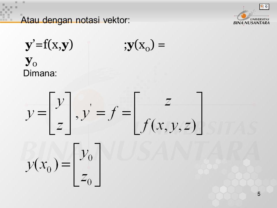 5 Atau dengan notasi vektor: y'=f(x,y) ;y(x 0 ) = y 0 Dimana: