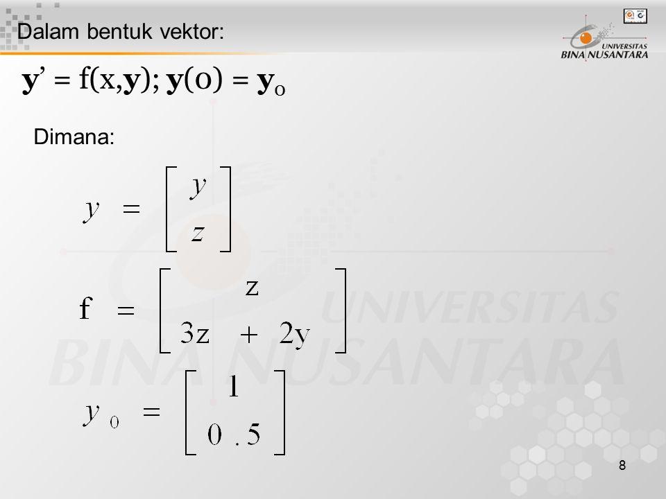 8 Dalam bentuk vektor: y' = f(x,y); y(0) = y 0 Dimana: