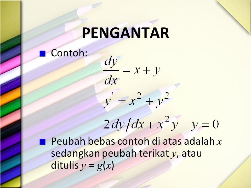 PENGANTAR Contoh: Peubah bebas contoh di atas adalah x sedangkan peubah terikat y, atau ditulis y = g ( x )