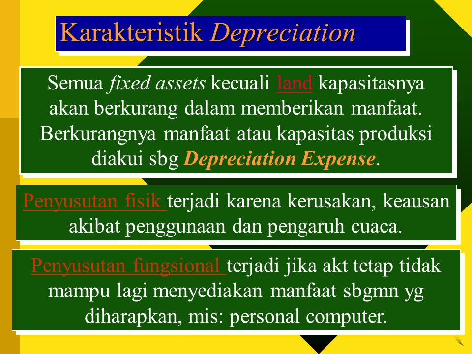 Karakteristik Depreciation Semua fixed assets kecuali land kapasitasnya akan berkurang dalam memberikan manfaat. Berkurangnya manfaat atau kapasitas p