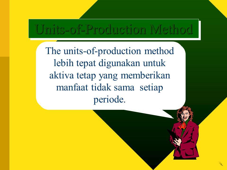 The units-of-production method lebih tepat digunakan untuk aktiva tetap yang memberikan manfaat tidak sama setiap periode. Units-of-Production Method