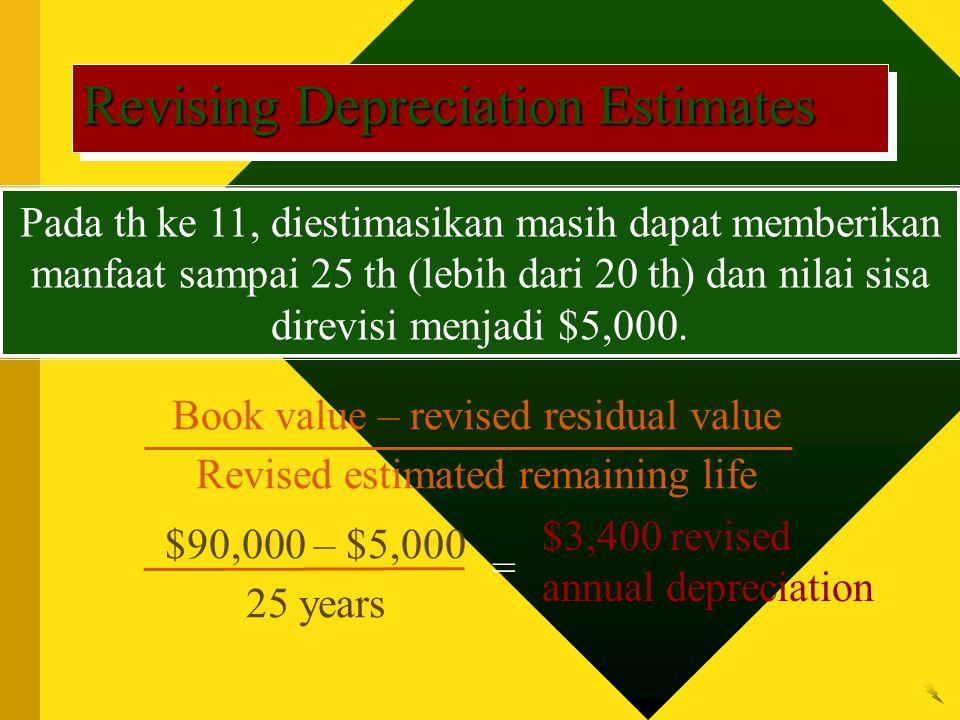Pada th ke 11, diestimasikan masih dapat memberikan manfaat sampai 25 th (lebih dari 20 th) dan nilai sisa direvisi menjadi $5,000.