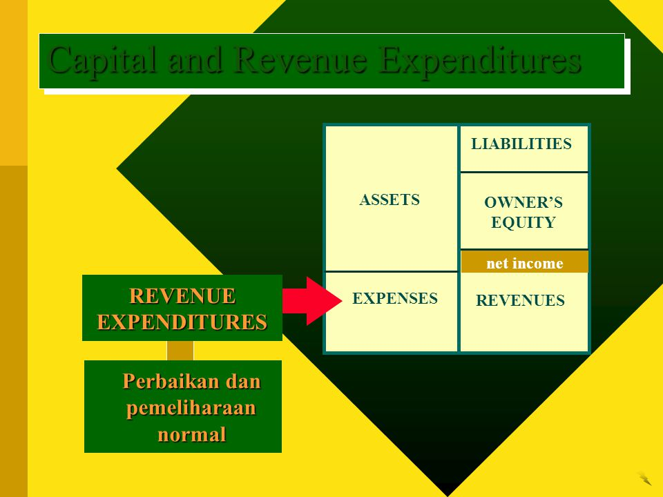 LIABILITIES OWNER'S EQUITY REVENUES ASSETS EXPENSES net income Perbaikan dan pemeliharaan normal REVENUE EXPENDITURES Capital and Revenue Expenditures