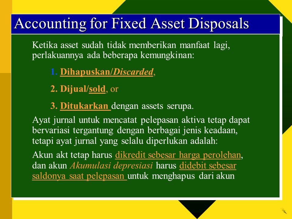 Accounting for Fixed Asset Disposals Ketika asset sudah tidak memberikan manfaat lagi, perlakuannya ada beberapa kemungkinan: 1. Dihapuskan/Discarded,