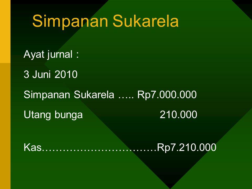 Simpanan Sukarela Ayat jurnal : 3 Juni 2010 Simpanan Sukarela ….. Rp7.000.000 Utang bunga 210.000 Kas……………………………Rp7.210.000