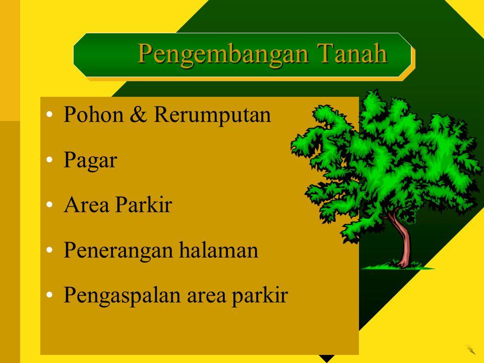 Pohon & Rerumputan Pagar Area Parkir Penerangan halaman Pengaspalan area parkir Pengembangan Tanah Pengembangan Tanah