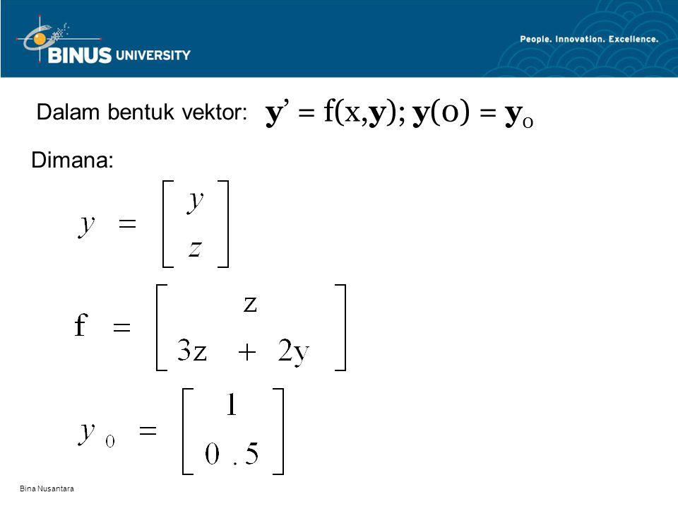 Bina Nusantara Dalam bentuk vektor: y' = f(x,y); y(0) = y 0 Dimana: