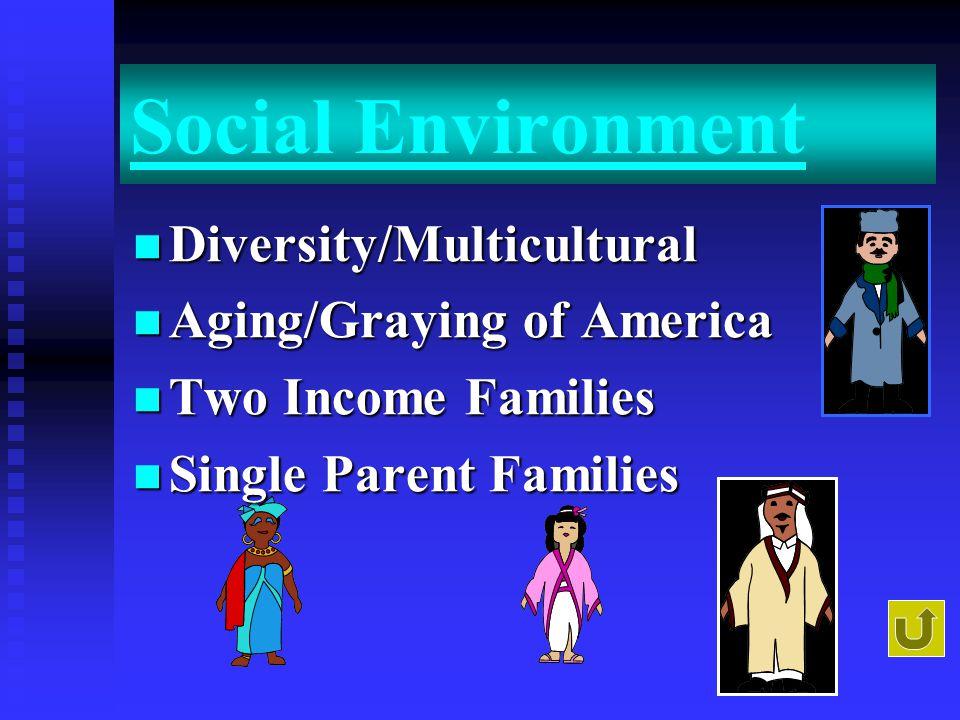 Social Environment Diversity/Multicultural Diversity/Multicultural Aging/Graying of America Aging/Graying of America Two Income Families Two Income Families Single Parent Families Single Parent Families